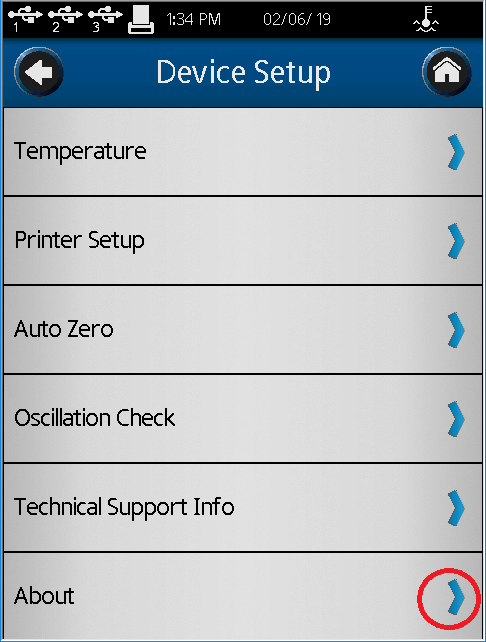 Device Settings Screen for DVT Firmware Upgrade